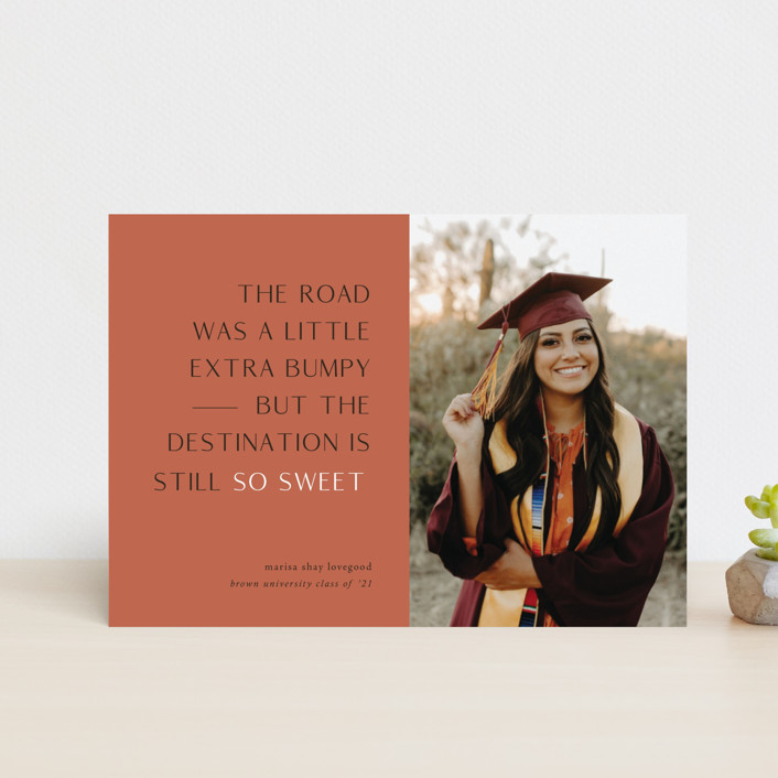 """""""Destination"""" - Funny, Modern Graduation Announcement Postcards in Faded Rust by Up Up Creative."""