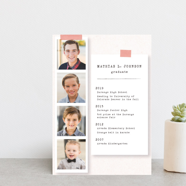"""Accomplishments on file"" - Graduation Announcement Postcards in Flamingo by Gwen Bedat."