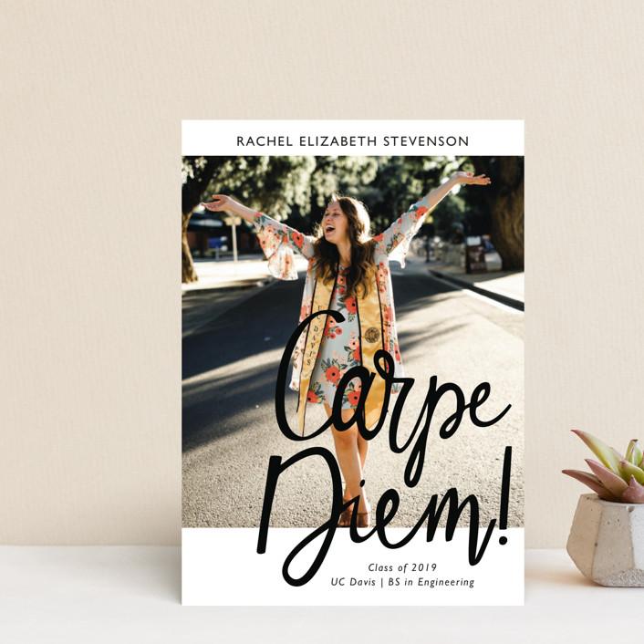 """Carpe Diem!"" - Funny Graduation Announcement Postcards in Ink by Basil Design Studio."