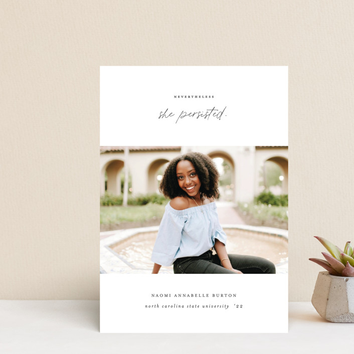 """""""She Persisted"""" - Graduation Announcement Postcards in Onyx by Ashley Rosenbaum."""