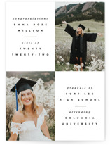 This is a black graduation announcement postcard by Ana Sharpe called Brightness with standard printing on signature in postcard.