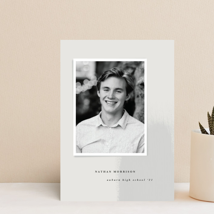 """New Beginning"" - Modern, Preppy Graduation Announcement Postcards in Mist by Angela Garrick."
