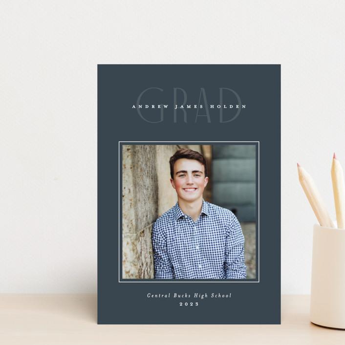"""Fine Line"" - Graduation Announcement Postcards in Graphite by Jennifer Wick."