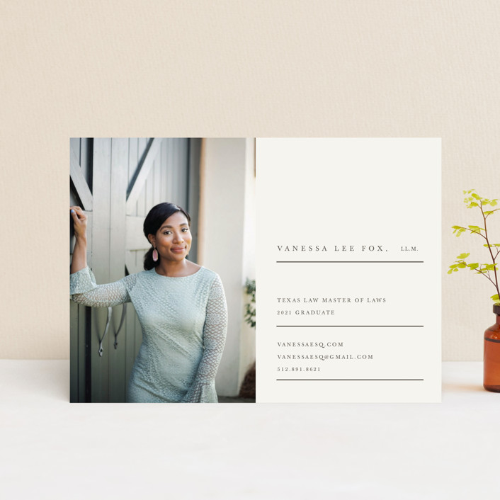"""""""Sage"""" - Graduation Announcement Postcards in Nude by Creative Parasol."""