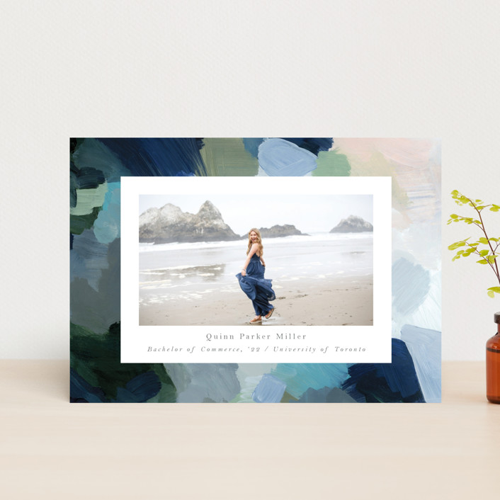 """""""abstraction"""" - Modern Graduation Announcement Postcards in Ocean by Nicole Walsh."""