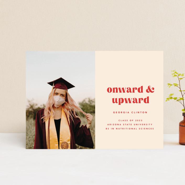 """""""Onward & Upward"""" - Funny, Preppy Graduation Announcement Postcards in Peach by Anna Elder."""