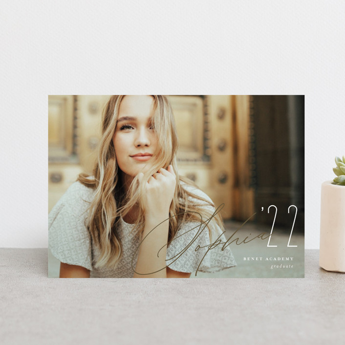 """""""WISH"""" - Graduation Announcement Postcards in Stone by Erin German."""