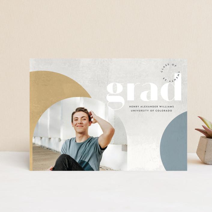 """Abstract Stone"" - Modern, Preppy Graduation Announcement Postcards in Mustard by Anna Elder."