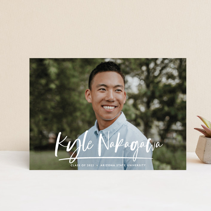 """""""Bold Script"""" - Modern Graduation Announcement Postcards in Snow by Lindsay Stetson Thompson."""