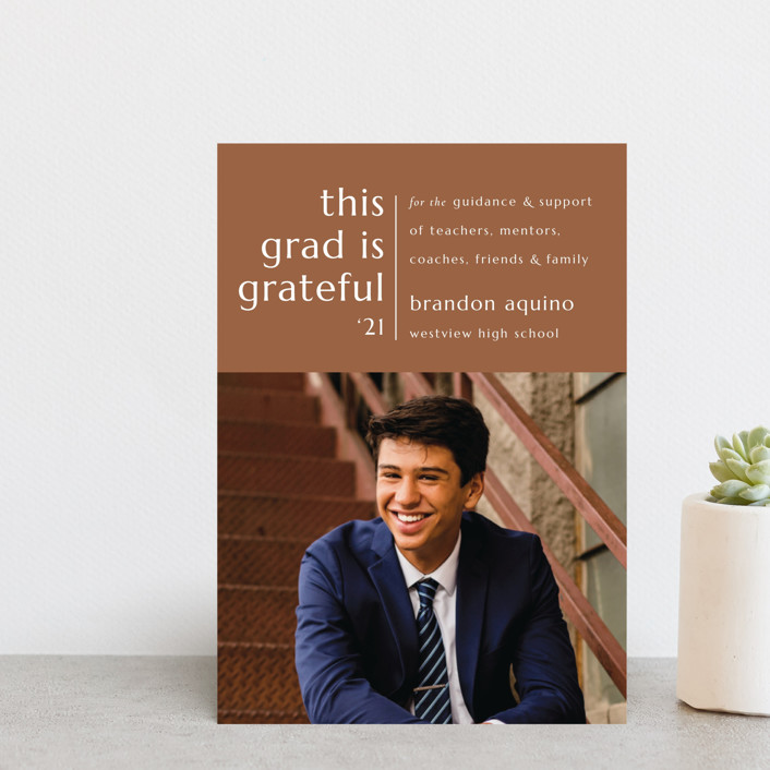 """Grateful Grad"" - Modern, Preppy Graduation Announcement Postcards in Caramel by Griffinbell Paper Co.."