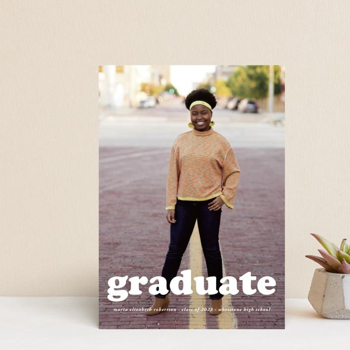 """""""Cooper"""" - Modern Graduation Announcement Postcards in Snow by Heather Schertzer."""