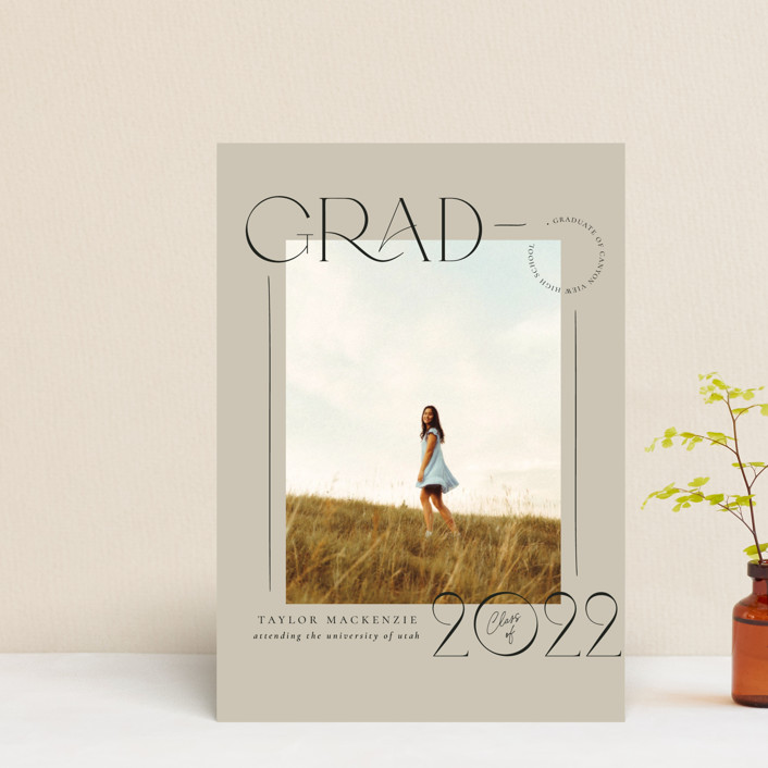 """Mod Grad"" - Graduation Announcement Postcards in Mint by Wildfield Paper Co."