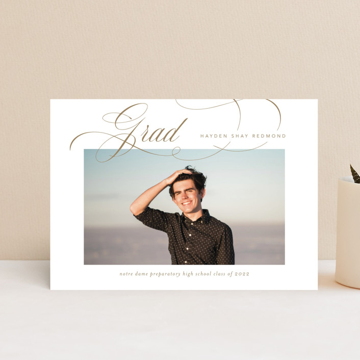 """Flourishing"" - Graduation Announcement Postcards in Gilded Gold by Jennifer Postorino."
