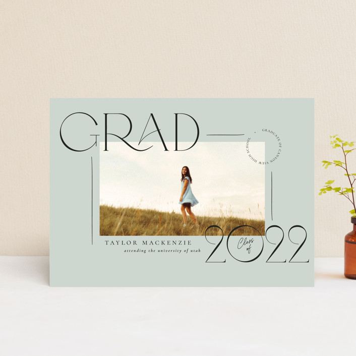 """Mod Grad"" - Modern Graduation Announcement Postcards in Mint by Wildfield Paper Co."