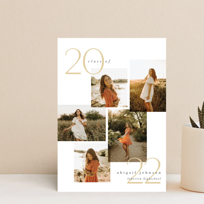 """""""chic five"""" - Modern Graduation Announcement Postcards in Marigold by Carolyn Nicks."""