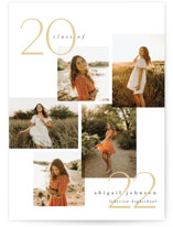 This is a gold graduation announcement invitation by Carolyn Nicks called chic five with standard printing on signature in postcard.
