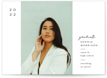 This is a white graduation announcement invitation by Amy Kross called Mod Band with standard printing on signature in postcard.