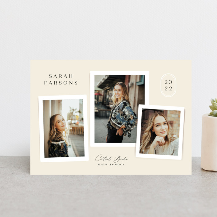"""""""commentary"""" - Modern, Preppy Graduation Announcement Postcards in Ivory by Jennifer Wick."""