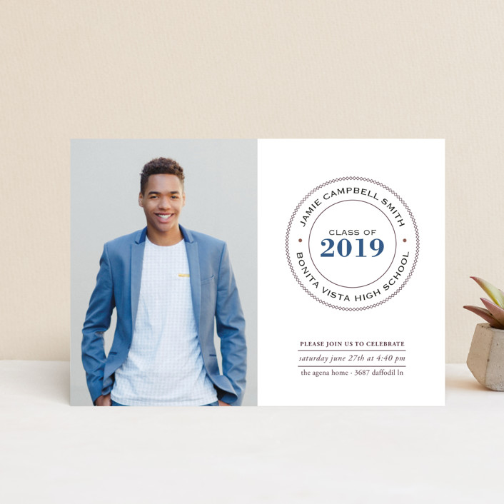 """""""Graduate Ring"""" - Graduation Announcement Postcards in Denim by Luckybug Designs."""