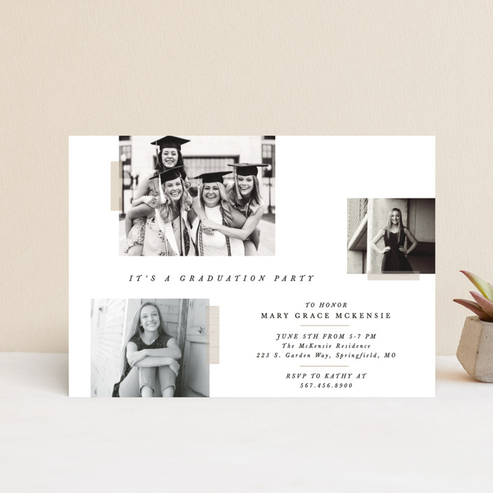"""Memory Book"" - Graduation Announcement Postcards in Cotton by Bethany McDonald."