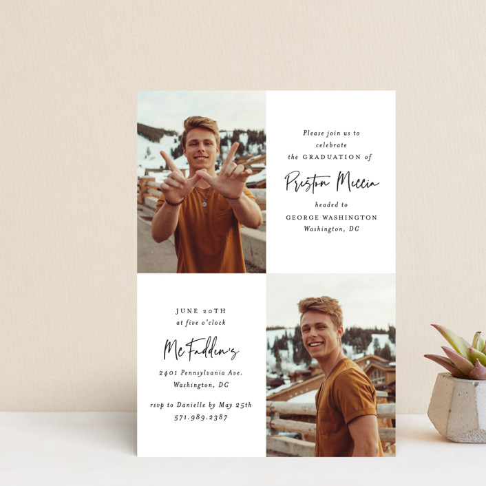 """Mod Duo"" - Graduation Announcement Postcards in Fudge by Mansi Verma."