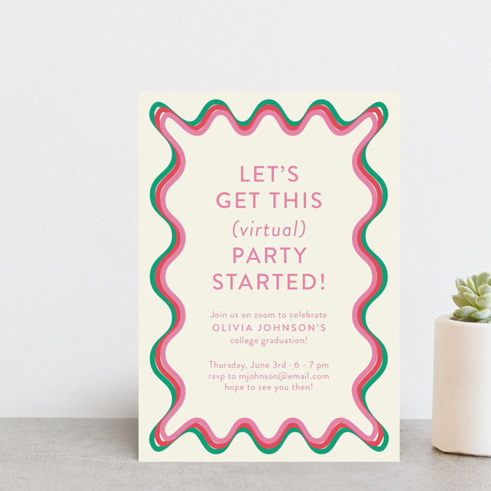 """""""Ticker Tape"""" - Modern Graduation Announcement Postcards in Strawberry by Toast & Laurel."""