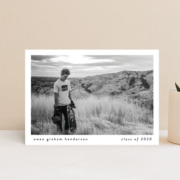 """Basic"" - Graduation Announcement Postcards in Onyx by Lauren Chism."