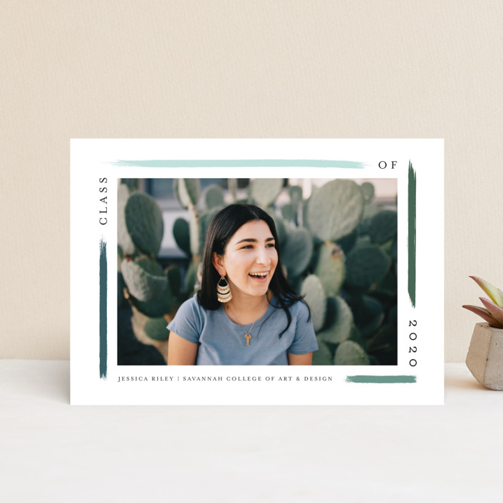 """""""holiday brushed"""" - Graduation Announcement Postcards in Evergreen by Bethany McDonald."""