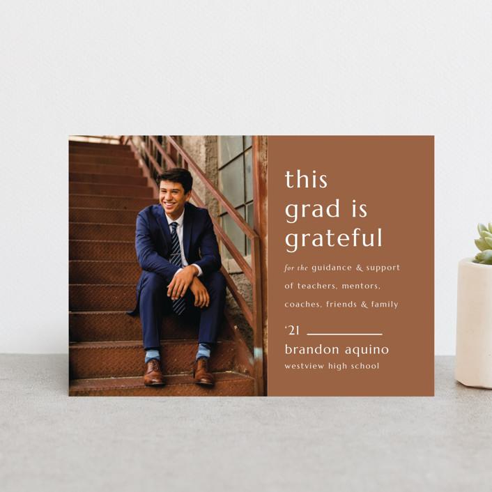 """Grateful Grad"" - Modern, Preppy Graduation Announcement Postcards in Caramel by Griffinbell Paper Co.."