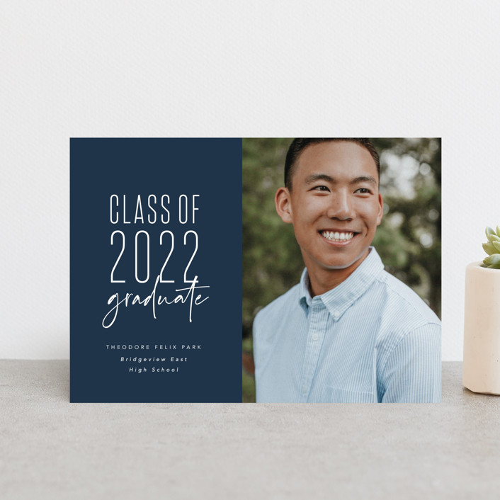 """One and done"" - Funny, Preppy Graduation Announcement Postcards in Jeans by Lea Delaveris."