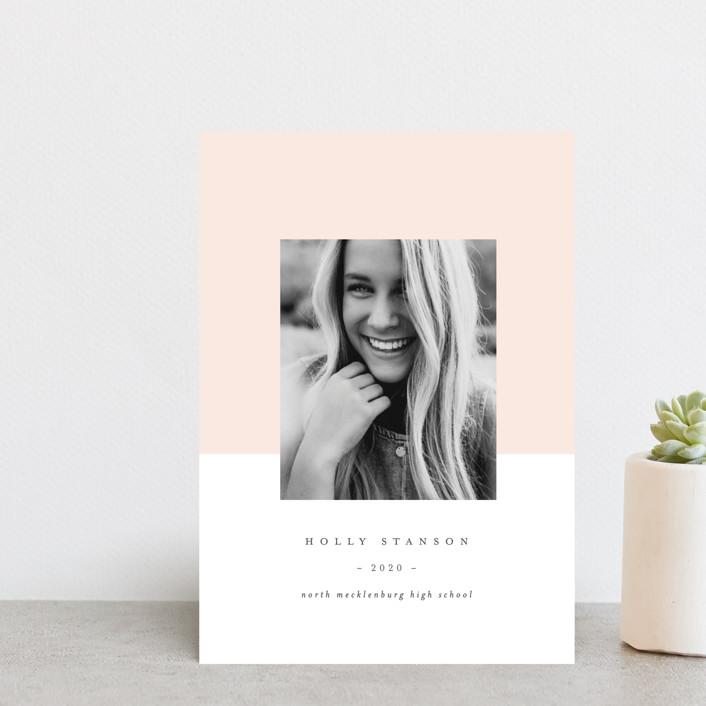 """ClassGrad"" - Modern Graduation Announcement Postcards in Blush by Lori Wemple."