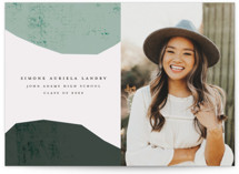 This is a green graduation announcement postcard by Morgan Kendall called Semi Circles with standard printing on signature in postcard.