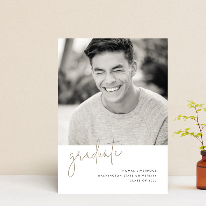 """Minimalist"" - Graduation Announcement Postcards in Taupe by Chryssi Tsoupanarias."