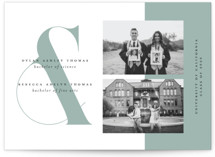 This is a blue graduation announcement postcard by Morgan Kendall called Ampersand with standard printing on signature in postcard.