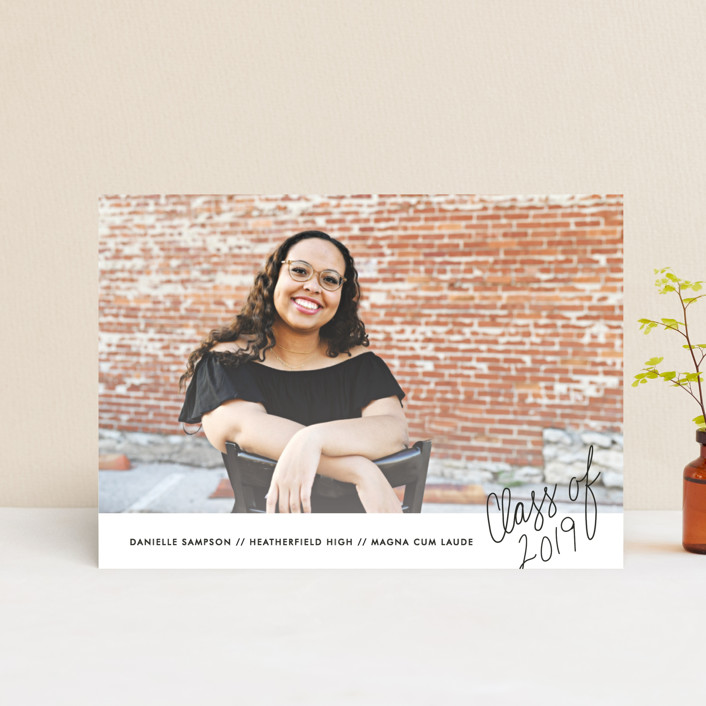 """""""Handwritten Year"""" - Graduation Announcement Postcards in Graphite by Bethany Anderson."""
