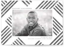 This is a grey graduation announcement postcard by Paper Sun Studio called Making Tracks with standard printing on signature in postcard.