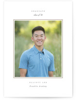 This is a brown graduation announcement postcard by Sara Hicks Malone called Effortless with standard printing on signature in postcard.