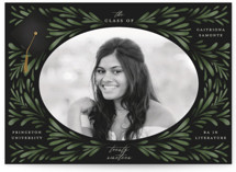 This is a green graduation announcement postcard by Grae Sales called Classic Foliage with standard printing on signature in postcard.