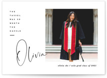 This is a white graduation announcement postcard by Creo Study called worth the hassle with standard printing on signature in postcard.