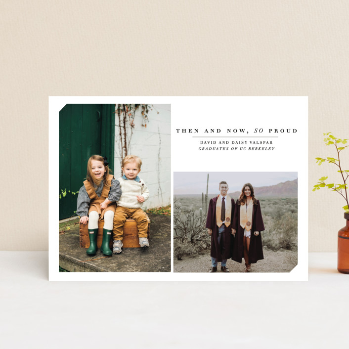 """""""Then & Now"""" - Graduation Announcement Postcards in Noir by Bethany Anderson."""
