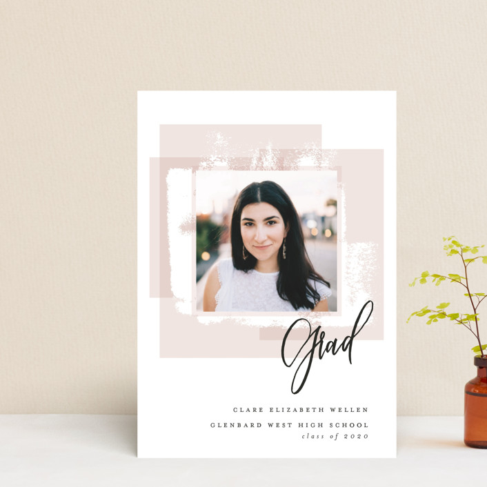 """""""Light and Airy Grad"""" - Graduation Announcement Postcards in Blush by Erin German Design."""