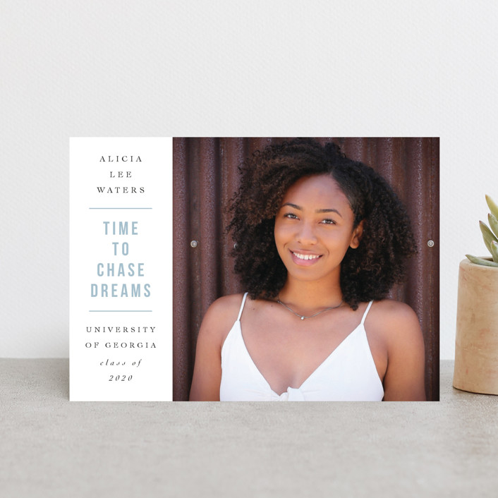 """""""Chase Dreams"""" - Graduation Announcement Postcards in Go Getter Grey by Cindy Reynolds."""