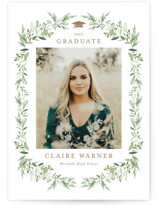 This is a brown graduation announcement postcard by Jennifer Postorino called Laurel Essence with standard printing on signature in postcard.