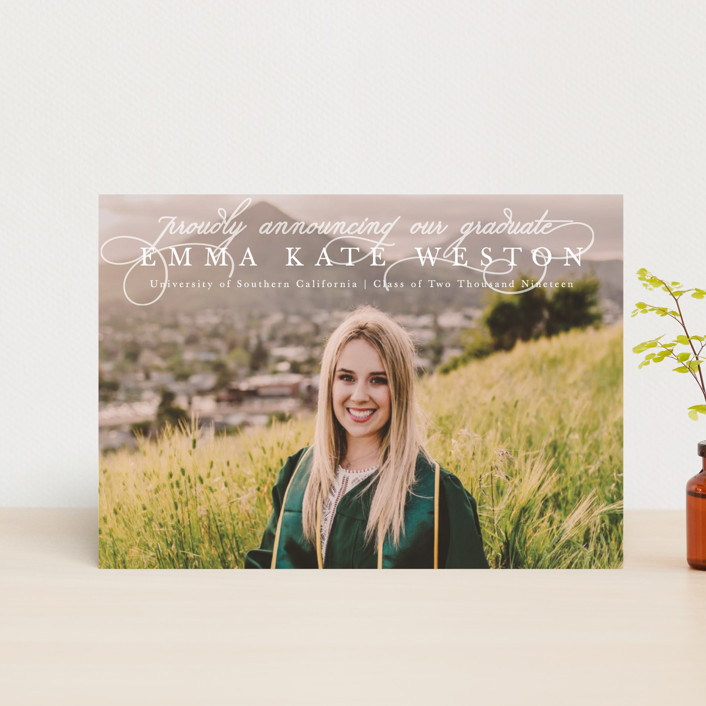 """Proudly Announcing"" - Graduation Announcement Postcards in Pearl by Kasia Labocki."