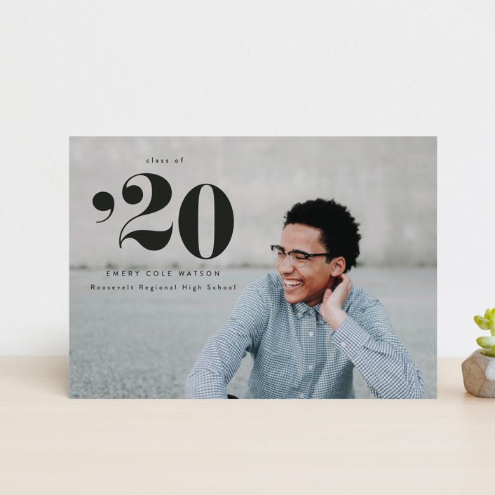 """A Big Year"" - Graduation Announcement Postcards in Onyx by Kasia Labocki."