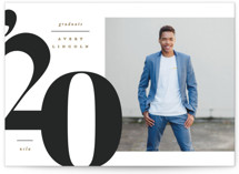 This is a grey graduation announcement postcard by Creo Study called Grandiose with standard printing on signature in postcard.
