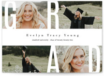 This is a white graduation announcement postcard by Playground Prints called Peace Love & Laughter with standard printing on signature in postcard.
