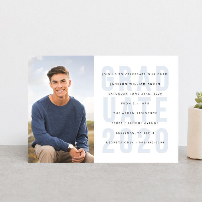 """Layered Grad Party"" - Graduation Announcement Postcards in Sky by Bethany Anderson."