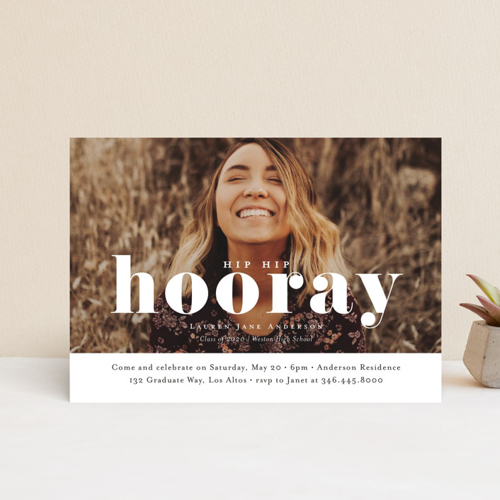 """Hooray"" - Graduation Announcement Postcards in Cloud by Kasia Labocki."