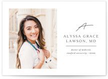 This is a white graduation announcement postcard by Kristel Torralba called Traditionally Mod with standard printing on signature in postcard.